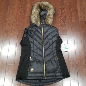Michael Kors Black down vest with faux fur hood